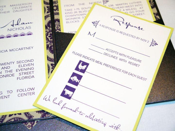 plum purple lime yellow damask modern pocketfold invitation c