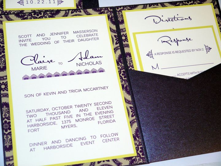 plum purple lime yellow damask modern pocketfold invitation b