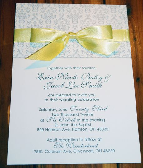 yellow gray damask with ribbon invitation