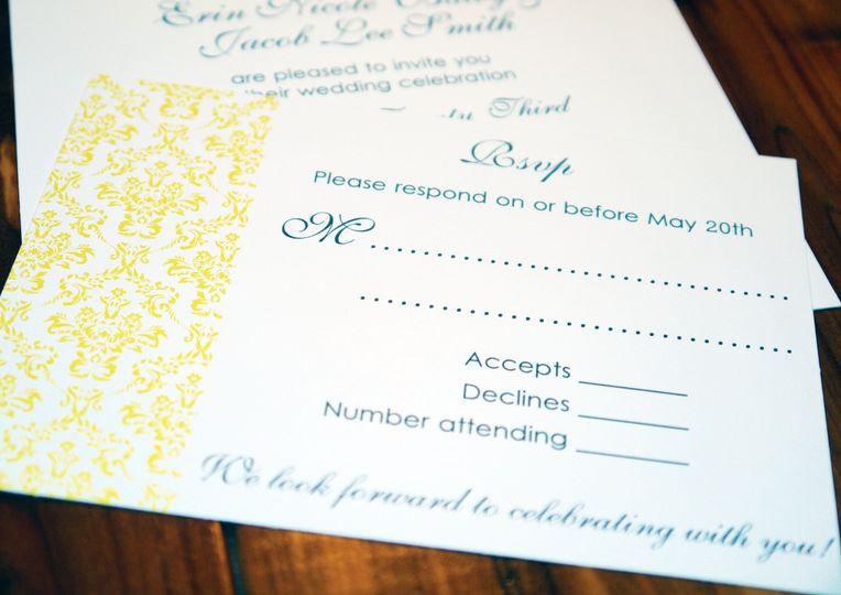 yellow gray damask with ribbon invitation b