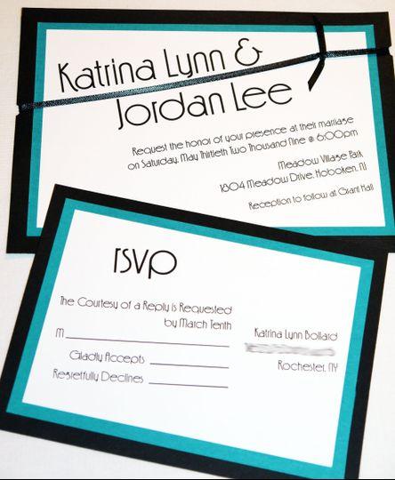 teal black modern ribbon card invitation