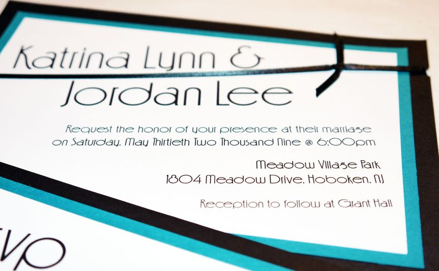 teal black modern ribbon card invitation b