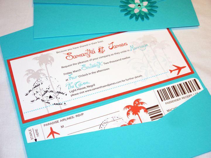 teal aqua orange destination boarding pass ticket pocketfold invitation b