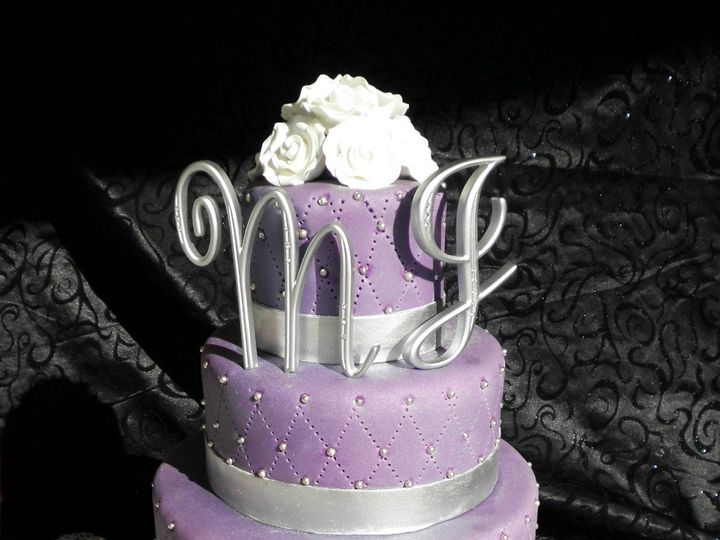 Tmx 1393713554665 Purpleandsilverm Lakeland wedding cake