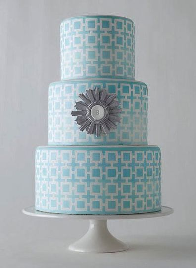 Inspired by interior designer Jonathan Adler, we created a custom stencil for this cake which...