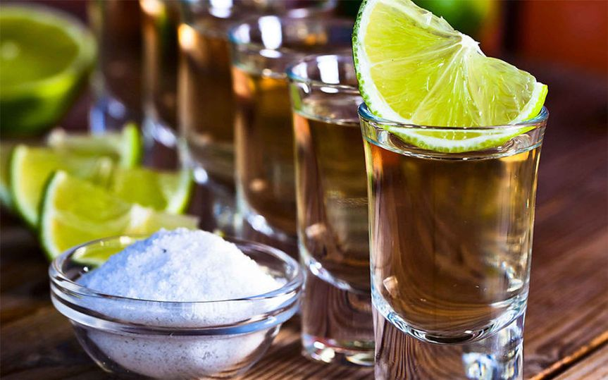 Tequila with lemon and salt