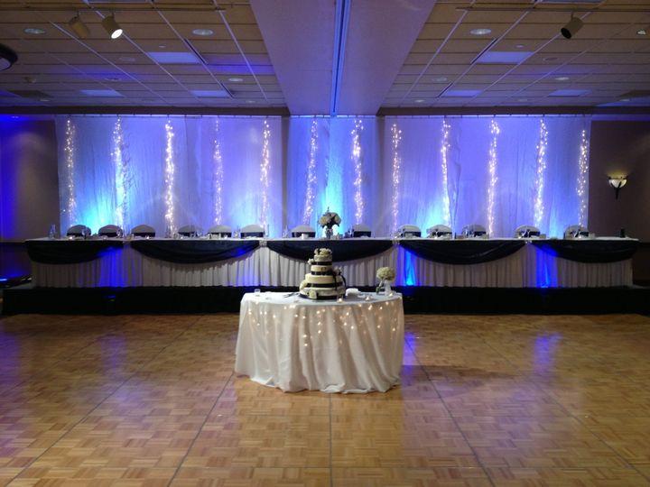 Blue head table uplights