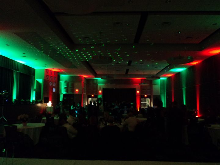 Red and green reception hall lighting
