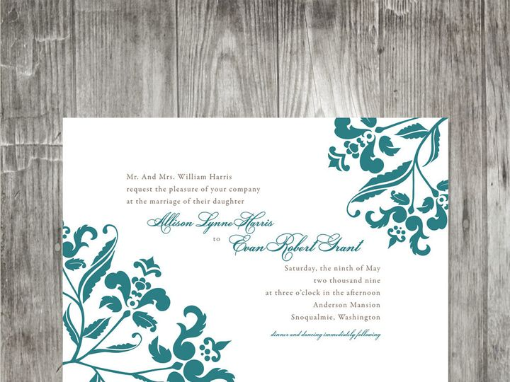 Tmx 1416342322448 Baroquebranchweddinginvitation Portland wedding invitation
