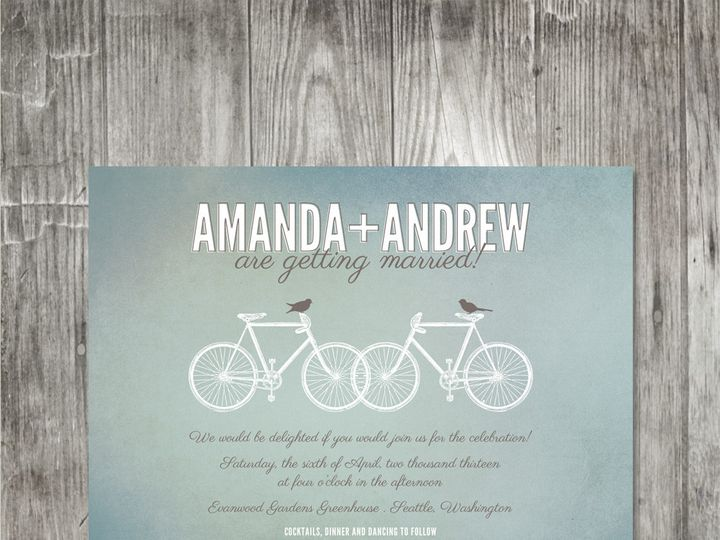 Tmx 1416342552152 Bicyclesweddinginvitation Portland wedding invitation