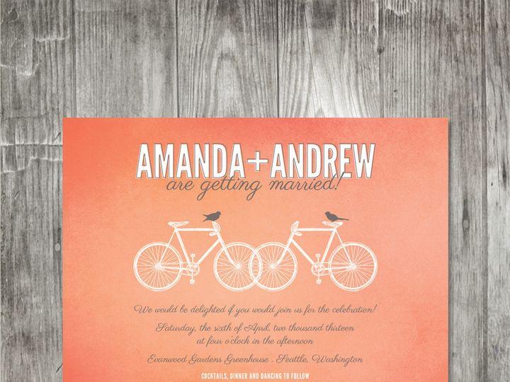 Tmx 1416342569804 Bicyclesweddinginvitationcoral Portland wedding invitation