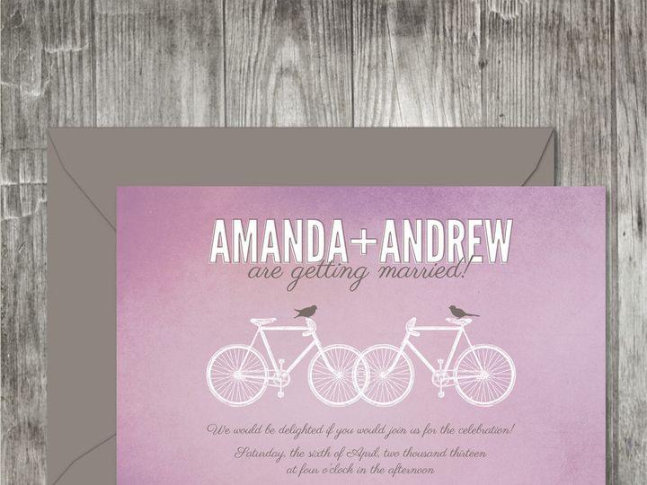 Tmx 1416342601939 Bicyclesweddinginvitationpurple Portland wedding invitation