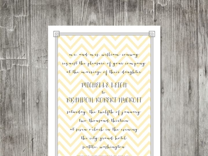 Tmx 1416343137635 Calligraphyframeweddinginvitechevron Portland wedding invitation
