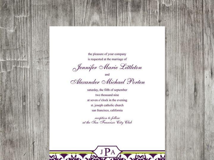 Tmx 1416343211819 Damaskbandweddinginvitation Portland wedding invitation