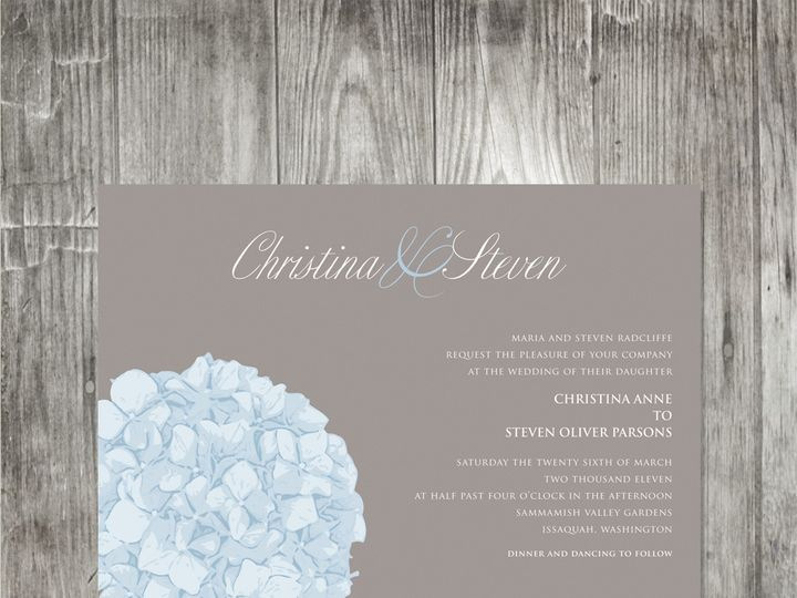 Tmx 1416343369756 Hydrangeaweddinginvitation Portland wedding invitation