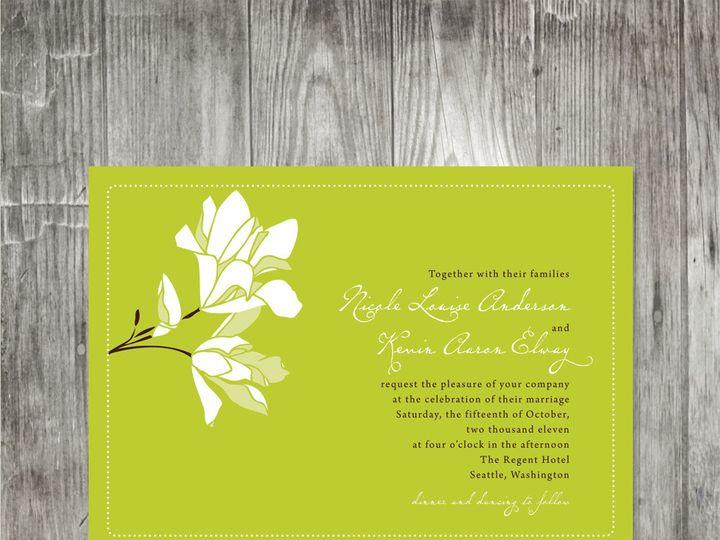 Tmx 1416343468371 Magnoliaweddinginvitationchartreuse Portland wedding invitation