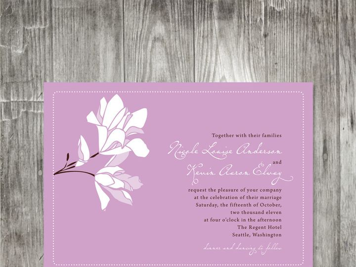 Tmx 1416343483969 Magnoliaweddinginvitationlavender Portland wedding invitation