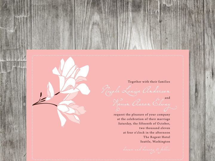 Tmx 1416343492745 Magnoliaweddinginvitationpink Portland wedding invitation