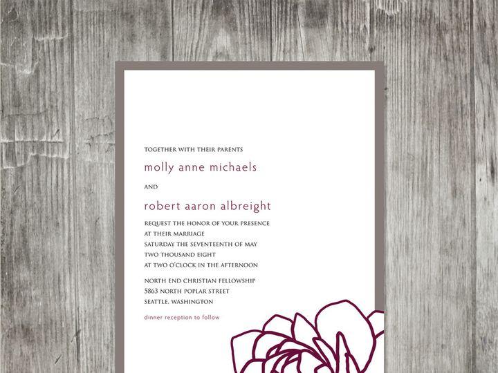 Tmx 1416343782622 Peonypurplepewterweddinginvitation Portland wedding invitation