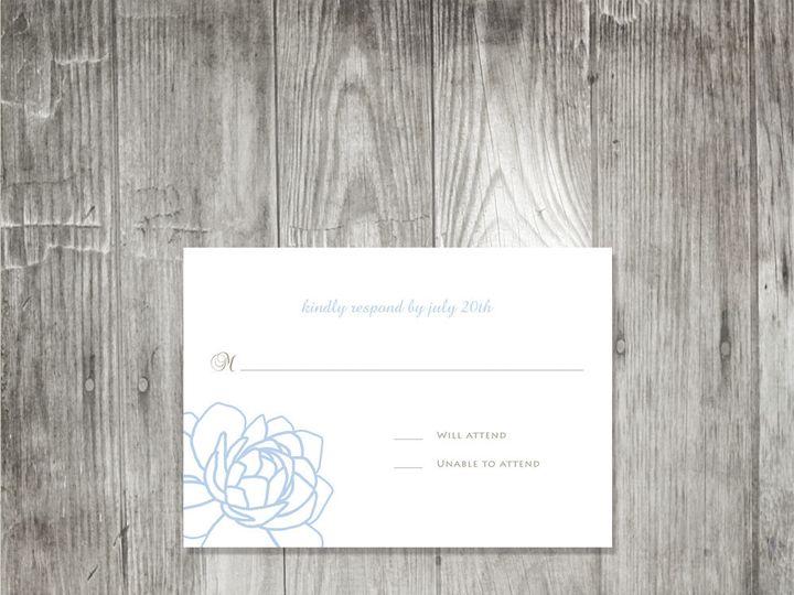 Tmx 1416343797439 Peonyweddingrsvpblue Portland wedding invitation