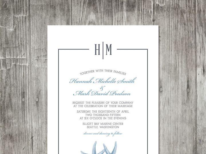 Tmx 1416344069864 Starfishmonogramweddinginvitation Portland wedding invitation