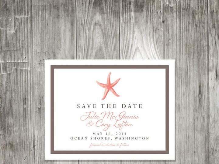 Tmx 1416344142274 Starfishsavethedate Portland wedding invitation