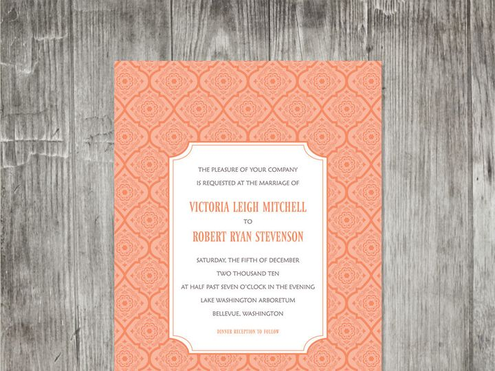 Tmx 1416344289353 Victorianpatterninvitationorange Portland wedding invitation