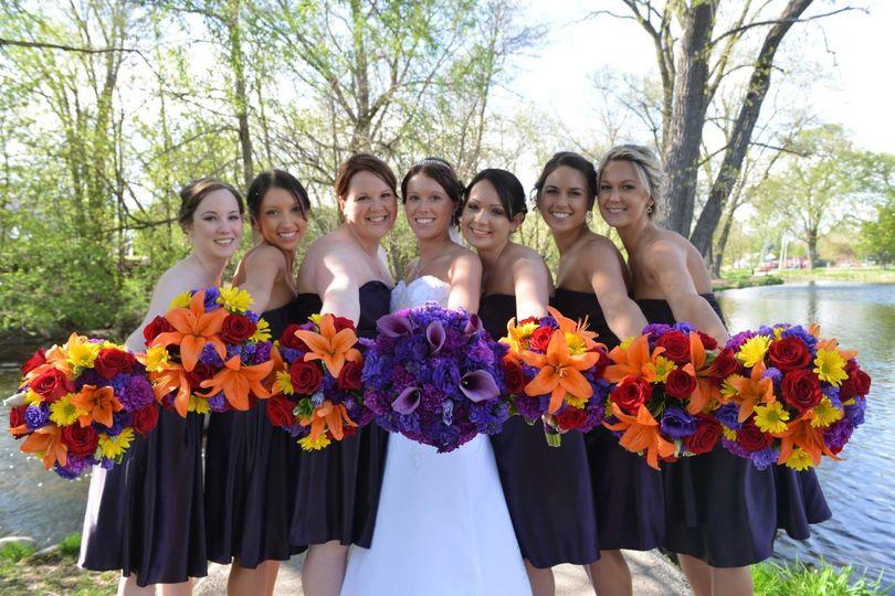 Happy bride and bridesmaids