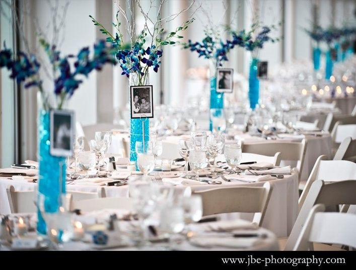 White table setup with a touch of blue
