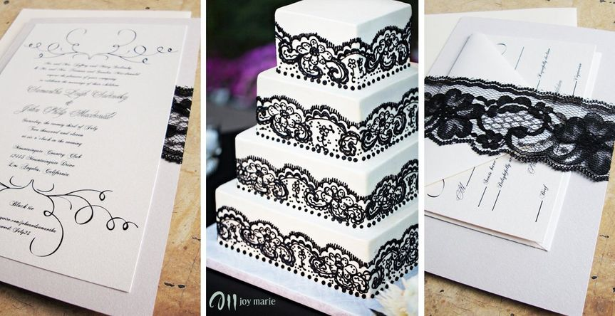 Lace invitation & cake