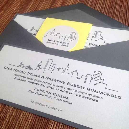 San francisco skyline modern invitation suite