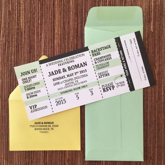 Large concert ticket invite with tear-off rsvp stub