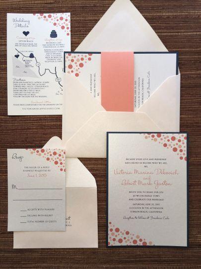 Coral confetti / dots wedding suite