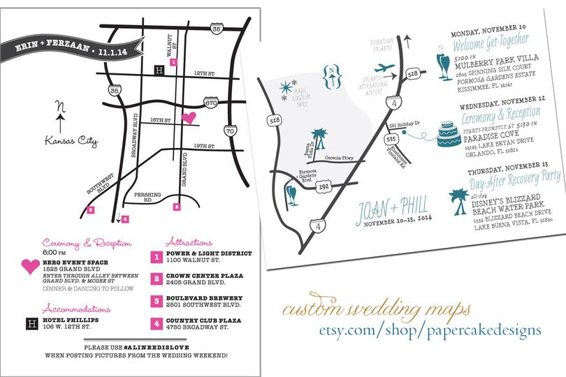 Custom wedding maps for your invites or welcome bag!