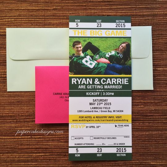 Sports invitation Ticket with tear-off RSVP...