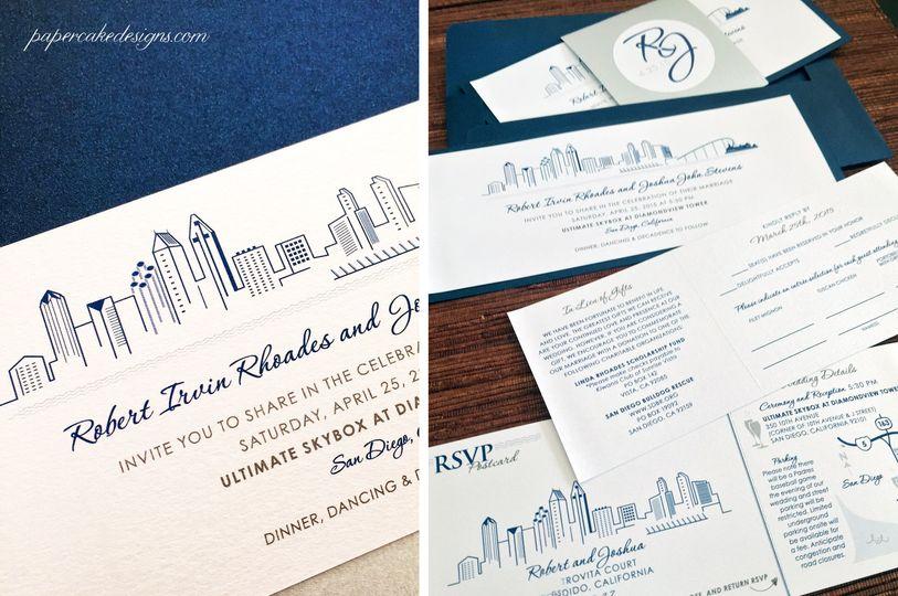San Diego City Skyline Wedding Invitation Suite with tear-off RSVP...