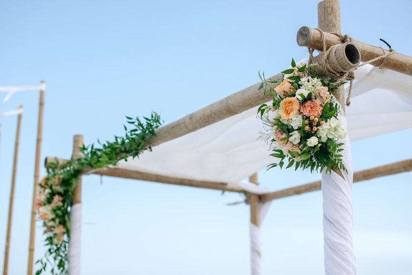 Floral decor in chuppah