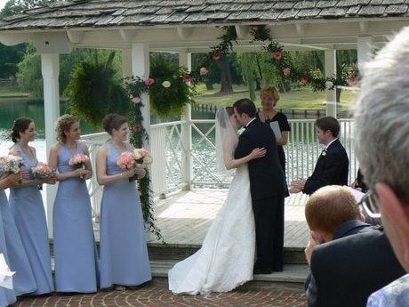 Groom kisses his bride