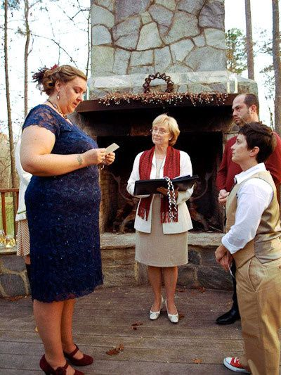 Tmx 1401330926904 Rev Lodge Watches Amy Saying Her Vows To Michell Chapel Hill, North Carolina wedding officiant