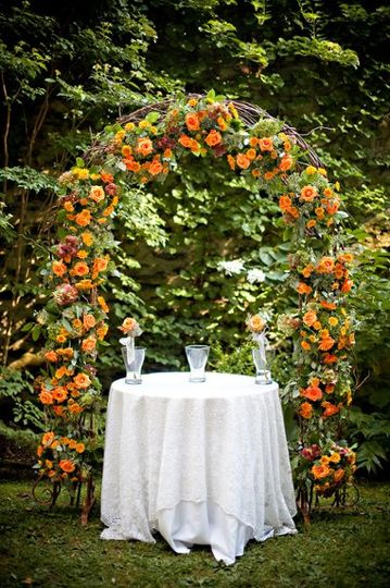 Wedding arch decorated in flowers