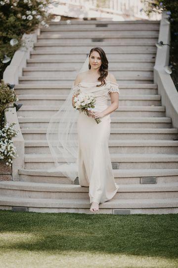 Bride walking down