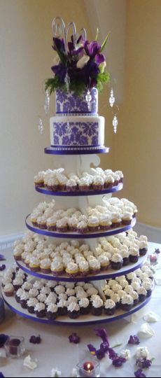 princess cake wedding two teir on cupcake stand 04