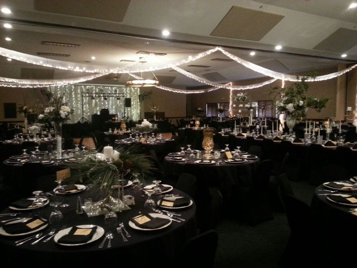 Black reception tables