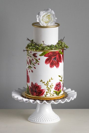 Hand painted flower design cake