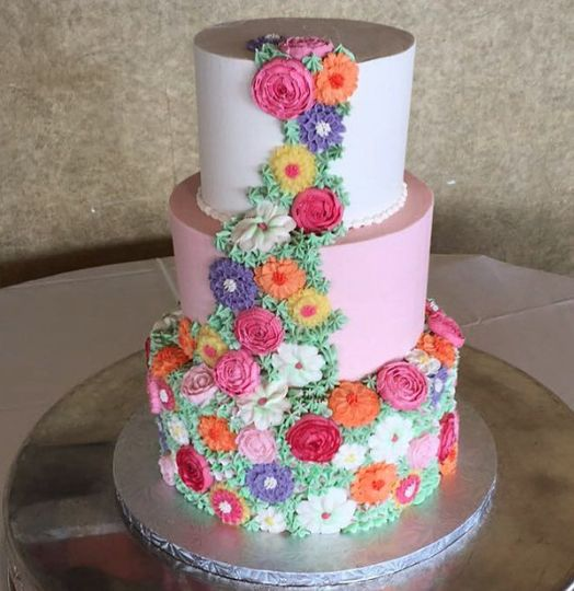 Buttercream floral tiered cake