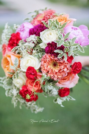 Pink and red flowers