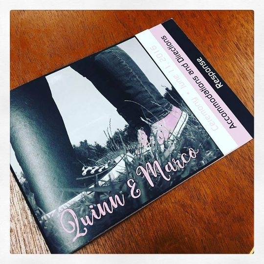 booklet wedding invitations chucks pink and black