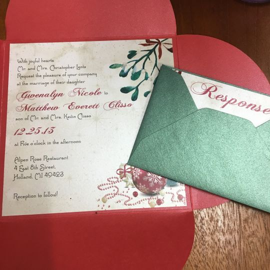 christmas petal fold wedding invitation