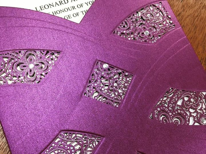 Tmx 1480736358228 Lasercutpurplepocketweddinginvitations Traverse City wedding invitation