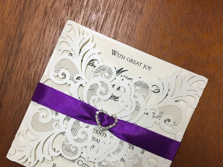 Tmx 1480736477258 Whitelacelaserinvitationwithpurpleribbon Traverse City wedding invitation